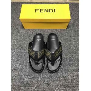 High Quality Fendi Black leather slides slide sandal with all-over FF pattern GO_FD010