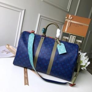 Louis Vuitton Luxury monogram canvas keep all bandouliere 45, pacific blue LV04BM095