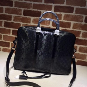 Gucci Perfect Quality black leather spacious office bag GC06BM084