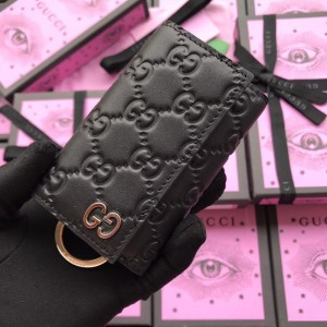 Gucci Perfect Quality black leather key pouch GC07WM006
