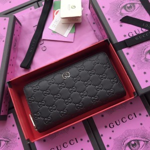 Gucci Perfect Quality black zipped leather wallet GC07WM024