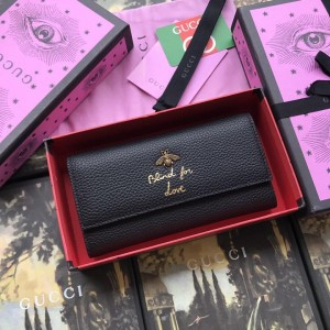 Gucci Perfect Quality blind for love black leather wallet  GC07WM030