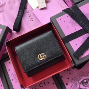 Gucci Perfect Quality black leather wallet with exterior pocket GC07WM035