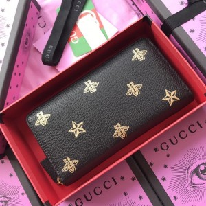 Gucci Perfect Quality black zipped purse with bee and star decorations GC07WM037