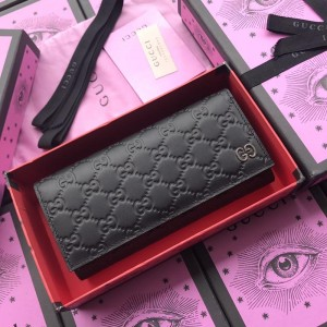 Gucci Perfect Quality black leather wallet with exterior pocket GC07WM050