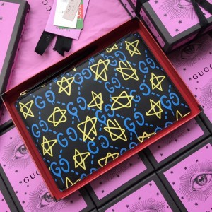Gucci Perfect Quality black leather purse with yellow and blue decorations GC07WM054