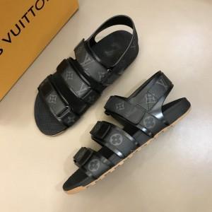Louis Vuittion Black Sandals with LV Monogram MS021019