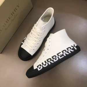 Burberry High-top High Quality Sneakers White and Black rubber sole  MS021036