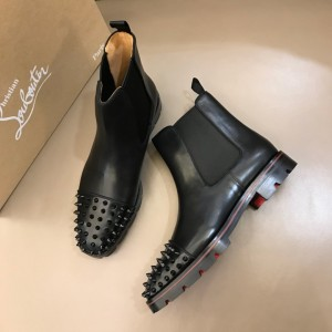 Christian Louboutin Chelsea MELON SPIKES Black Leather Boots MS021038