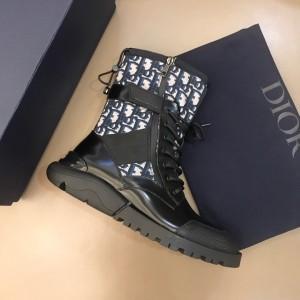 Dior Oblique Calfskin Boots Black/Deep Blue MS021044