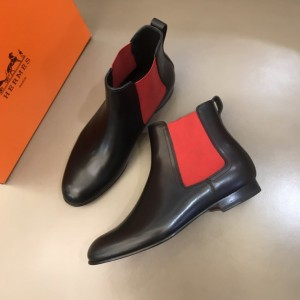 Hermes Chelsea Black and red Boots MS021089