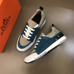 Hermes High Quality Sneakers Blue suede and Grey tongue with Two-tone sole MS021090
