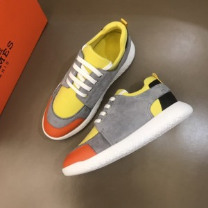 Hermes High Quality Sneakers Grey suede and Yellow tongue with White sole MS021091