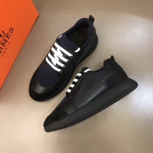 Hermes High Quality Sneakers Black and Dark blue tongue with Black sole MS021092