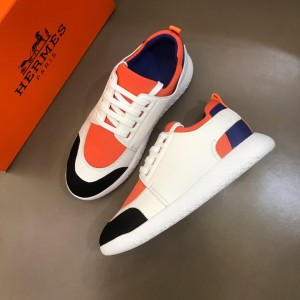 Hermes High Quality Sneakers White and Orange tongue with White sole MS021094