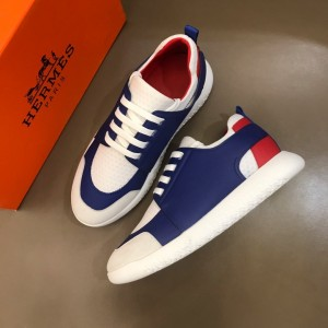 Hermes High Quality Sneakers Blue and White tongue with White sole MS021096