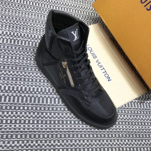 Louis Vuitton High-top High Quality Sneakers Black and Black Monogram Heel with Black Sole MS021099