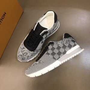 Louis Vuitton High Quality Sneakers White jersey and Damier Graphite print with white sole MS021105