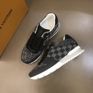 Louis Vuitton High Quality Sneakers Black jersey and Damier Graphite print with white sole MS021106