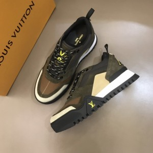 Louis Vuitton High Quality Sneakers Brown suede and white details with black sole MS021109