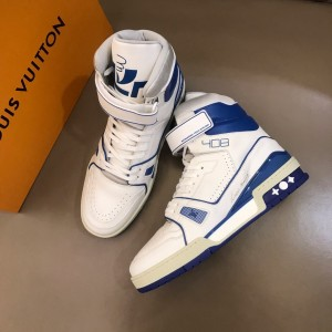 Louis Vuitton High Quality Sneakers White and blue leather details with white sole MS021114