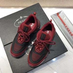 Prada High Quality Sneakers Red and black rubber trim with transparent sole MS021116