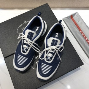 Prada High Quality Sneakers White and blue rubber trim with transparent sole MS021117
