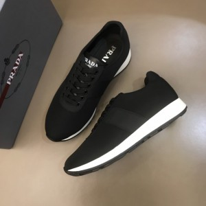 Prada High Quality Sneakers Black and black leather wet with white sole MS021118