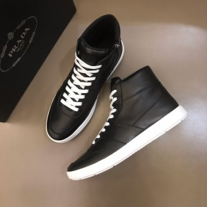 Prada High Quality Sneakers High-top Black and white sole MS021119