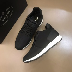 Prada High Quality Sneakers Black and black heel with white sole MS021122