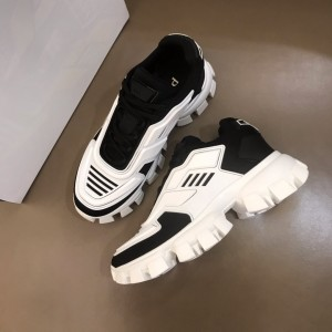 Prada High Quality Sneakers White and black heel with white sole MS021124