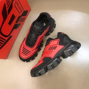 Prada High Quality Sneakers Red and black heel with black sole MS021127