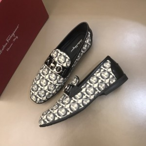 Salvatore Ferragamo White High Quality Loafers With Full Pattern MS021128