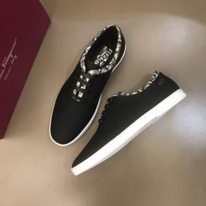 Salvatore Ferragamo High Quality Sneakers Black and Macro Gancini Print Trim  MS021316 Updated in 2019.11.28