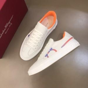 Salvatore Ferragamo High Quality Sneakers White and iridescent macro Gancini print  MS021317 Updated in 2019.11.28