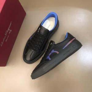 Salvatore Ferragamo High Quality Sneakers Black and iridescent macro Gancini print  MS021318 Updated in 2019.11.28