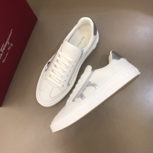 Salvatore Ferragamo High Quality Sneakers White and silver macro Gancini print  MS021319 Updated in 2019.11.28