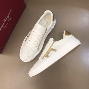 Salvatore Ferragamo High Quality Sneakers White and gold macro Gancini print  MS021320 Updated in 2019.11.28