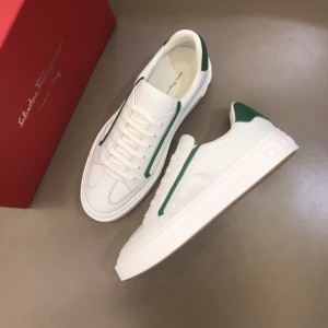 Salvatore Ferragamo High Quality Sneakers White and green heel  MS021322 Updated in 2019.11.28