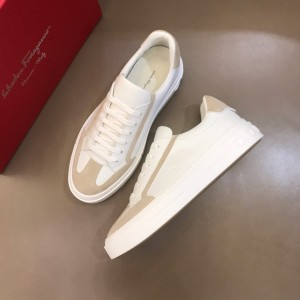 Salvatore Ferragamo High Quality Sneakers White and pink suede details  MS021324 Updated in 2019.11.28