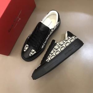 Salvatore Ferragamo High Quality Sneakers Black and Gancini print  MS021325 Updated in 2019.11.28