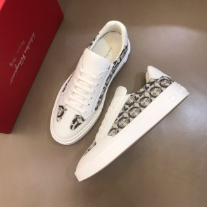 Salvatore Ferragamo High Quality Sneakers White and Gancini print  MS021326 Updated in 2019.11.28