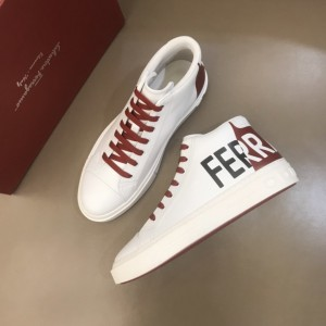Salvatore Ferragamo High-top High Quality Sneakers White and red Ferragamo print  MS021327 Updated in 2019.11.28
