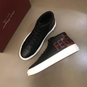 Salvatore Ferragamo High-top High Quality Sneakers Black and red Ferragamo print  MS021328 Updated in 2019.11.28