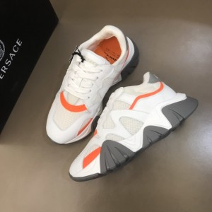Versace High Quality Sneakers White and orange details with grey sole MS021339 Updated in 2019.11.28