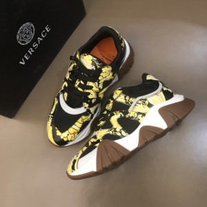 Versace High Quality Sneakers Black and brutal Barocco print with brown sole MS021340 Updated in 2019.11.28