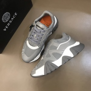 Versace High Quality Sneakers Grey and white details with grey sole MS021341 Updated in 2019.11.28