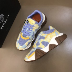 Versace High Quality Sneakers Blue and Barocco Homme print with brown sole MS021342 Updated in 2019.11.28