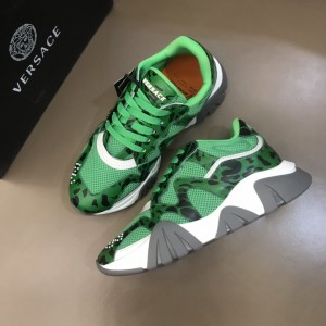 Versace High Quality Sneakers Green and Cavallino print with grey sole MS021343 Updated in 2019.11.28
