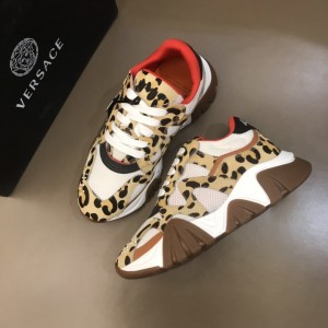 Versace High Quality Sneakers Yellow and Cavallino leather print with grey sole MS021344 Updated in 2019.11.28